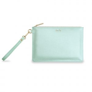 Katie Loxton Secret Message Pouch-Dream Big metallic mint