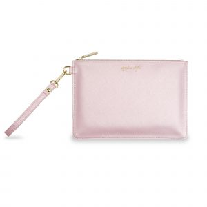 Katie Loxton Secret Message Pouch - Spend In Style Metallic Pink