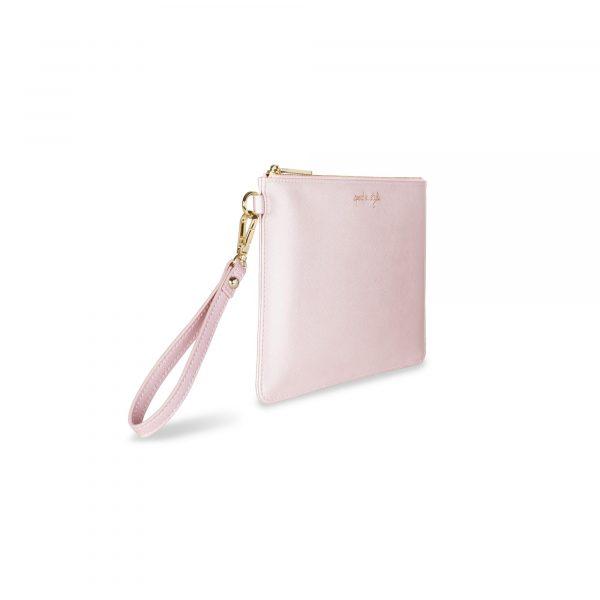 Katie Loxton Secret Message Pouch - Spend In Style Metallic Pink
