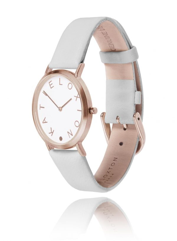 Katie Loxton - Lara Watch - Rose Gold Plated - Pale Grey Leather Strap
