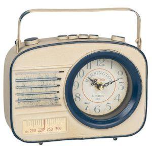 Past Times Retro Radio Clock in White