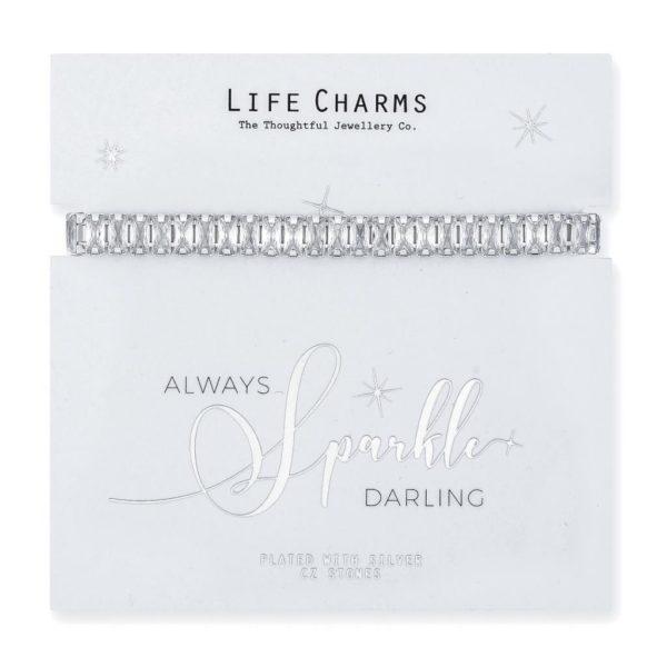 Life Charms Live Love Sparkle Cubic Zirconia Bracelet
