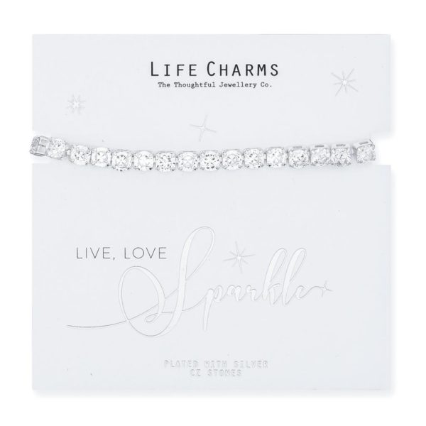 Life Charms Large princess Cut Cubic Zirconia Bracelet