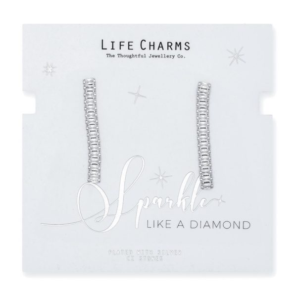 Life Charms CZ Medium Rectangle Drop Earrings