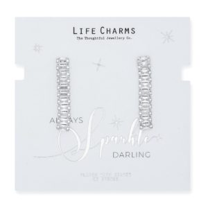 Life Charms CZ Large Rectangle Drop Earrings
