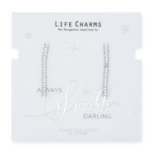 Life Charms CZ Small Princess Cut Drop Earrings