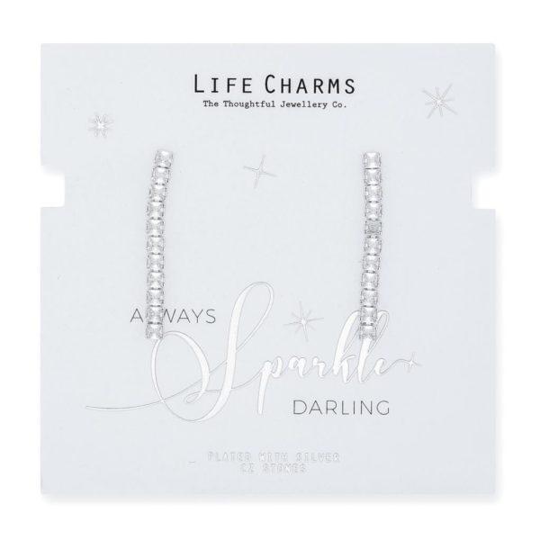 Life Charms CZ Small Princess Cut Drop Earrings