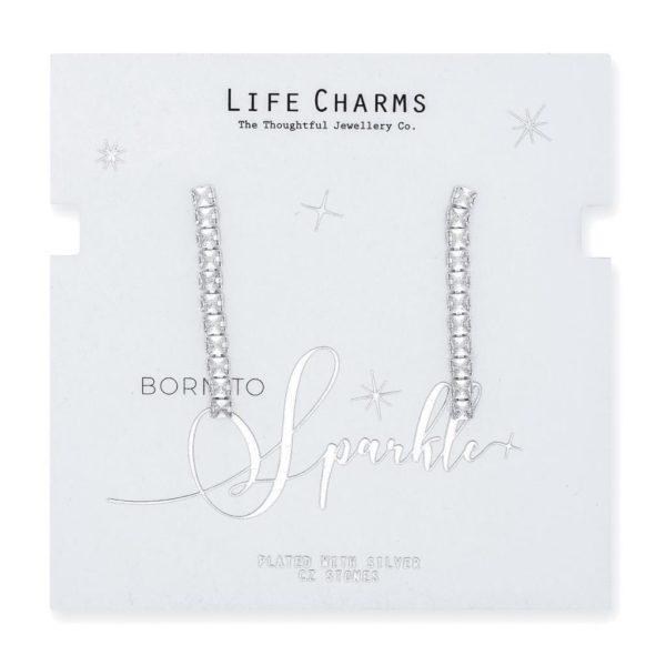 Life Charms CZ Medium Chandelier Square Drop Earrings