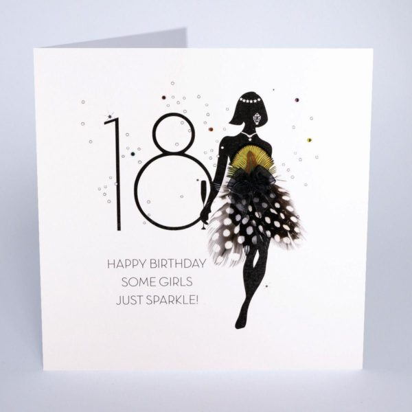 Some Girls Just Sparkle - Quality Handmade 18th Birthday Card / FOF13