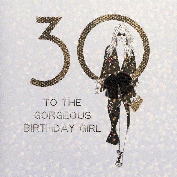 Gorgeous Birthday Girl ! - Quality Handmade 30th Birthday Card - AG13