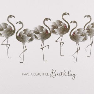 Have a Beautiful Birthday, Flamingos #GS8 Handmade Greeting Card by Five Dollar Shake