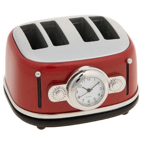 Joe Davies Miniature Clock Techno Toaster Red