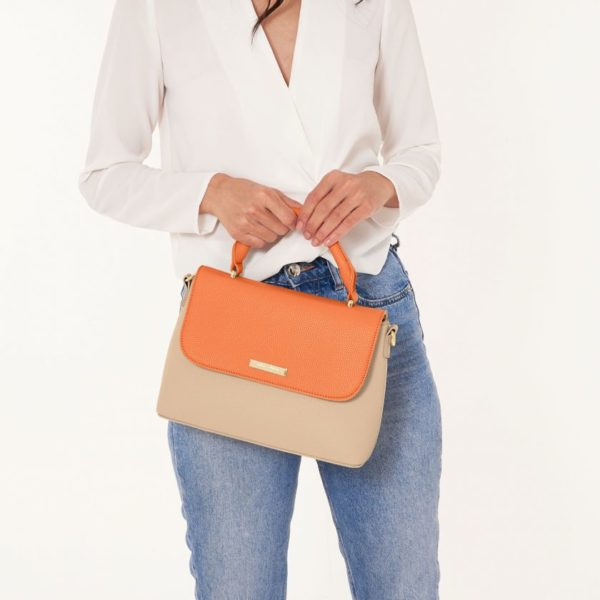 Katie Loxton Talia Two Tone Messenger Bag Orange/Tan