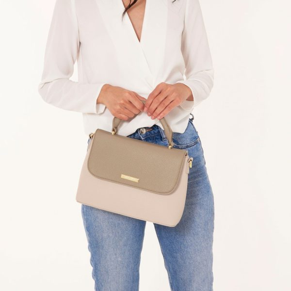 Katie Loxton Talia Two Tone Messenger Bag Taupe/Nude Pink