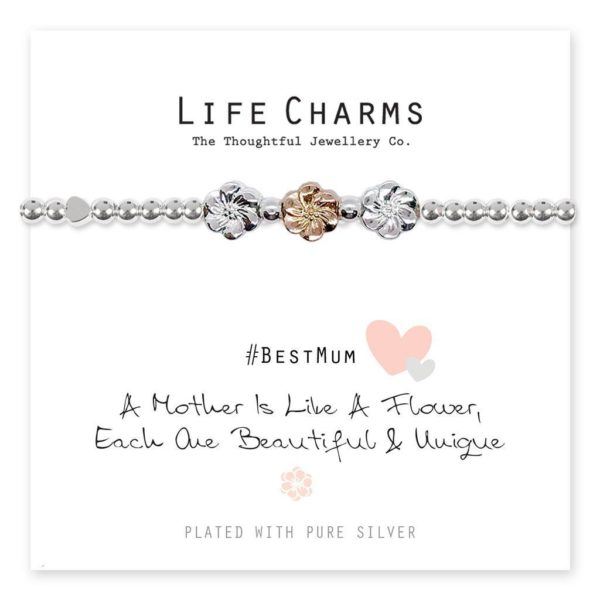 Life Charms A Mother Is Like A Flower Bracelet