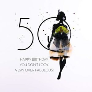 You Don't Look a Day Over Fabulous - Quality Handmade 50th Birthday Card / FOF17