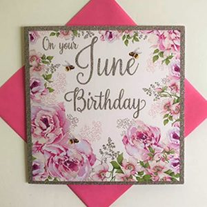 Nigel Quiney Female June Birthday Card - Pink Rose Flowers