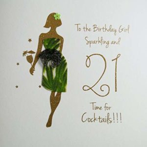 to The Birthday Girl, Sparkling & 21, Time for Cocktails!!! - Lovingly Handmade & Printed with Biodegradable Glitter Card - NE30