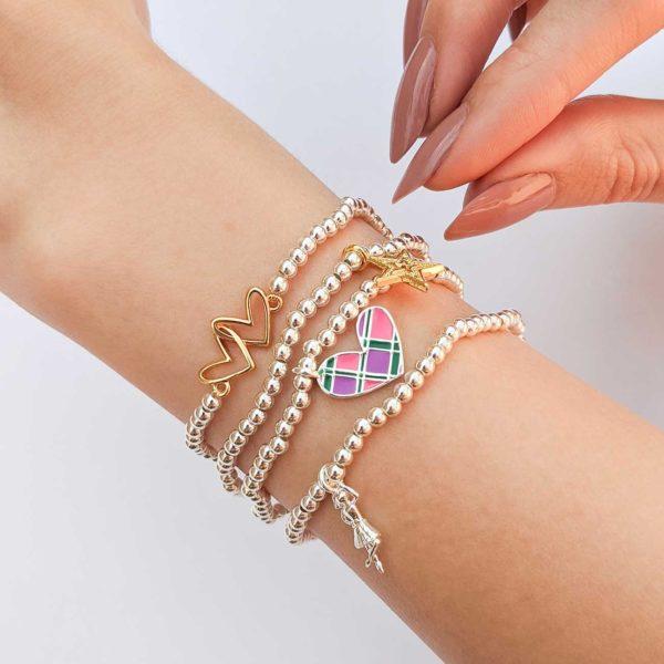 Joma Jewellery a little Scottish Tartan heart bracelet